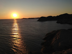 Sunset along coast in Southern Norway