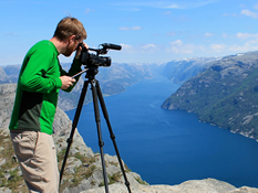 Mark filming on Pulpit Rock Norway